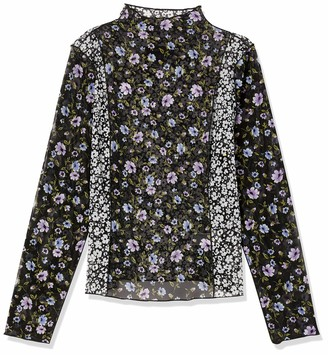 Forever 21 Women's Plus Size Sheer Mesh Floral Top