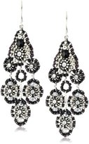Miguel Ases Jet and Sterling Silver Small Station Dangle Earrings
