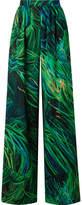 Elie Saab Printed Silk-georgette Wide-leg Pants - Green