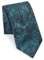 Brioni Embroidered Floral Print Silk Tie