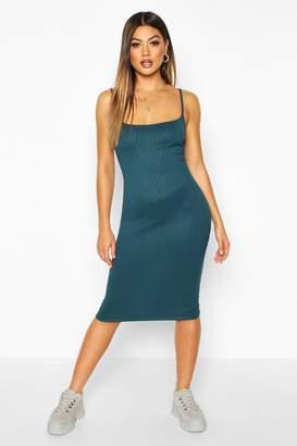 boohoo Strappy Jumbo Rib Midi Dress