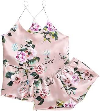 Olivia von Halle Bella Floral-print Silk-satin Pajama Set