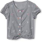 Gap Gingham Floral Button-Tie Top