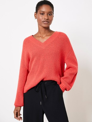Mint Velvet Red V-Neck Fluffy Jumper