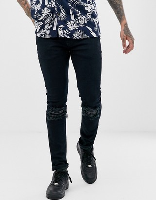 Levi's 519 super skinny fit low rise jeans in distressed sage flannel dark indigo advanced wash-Blue