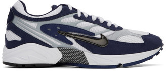 Nike White and Navy Air Ghost Racer Sneakers