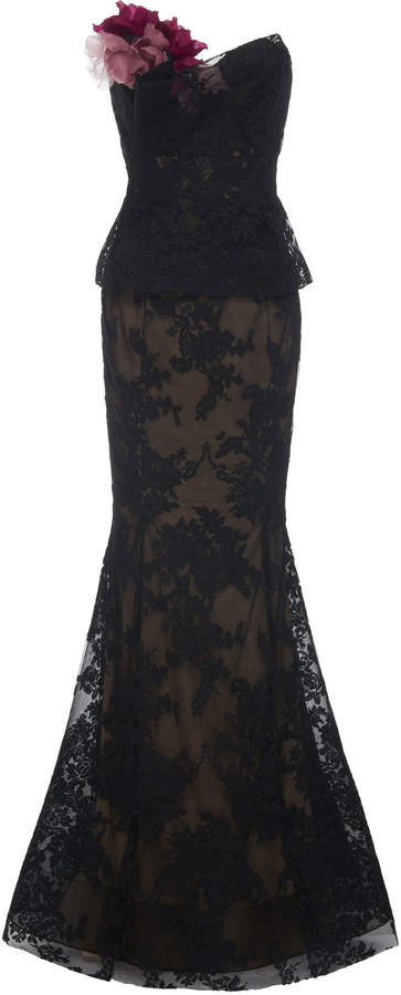 Marchesa Strapless Corded Lace Fit And Flare Gown