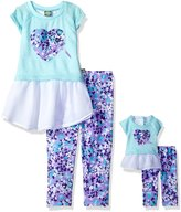 Dollie & Me Big Girls' Knit to Woven Tunic with Legging and Matching Doll Outfit