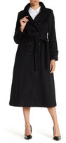 DKNY Double Breasted Long Wool Blend Military Coat (Petite)