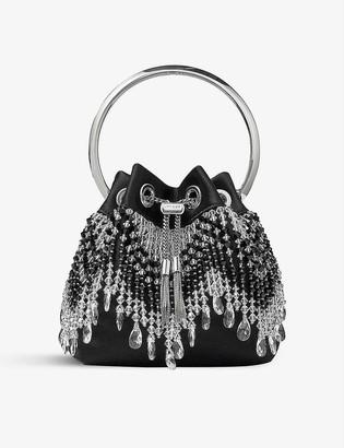 Jimmy Choo Bon Bon fringe-embellished satin and crystal top handle bag