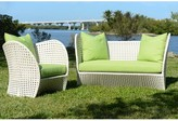 David Francis Furniture South Beach Loveseat with Sunbrella Cushions Cushion Color: Parrot
