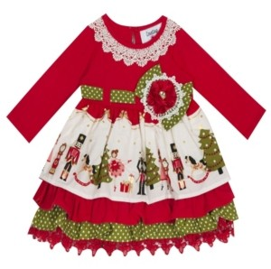 Rare Editions Little Girl Knit Dress With Nutcracker Printed Border