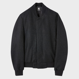 Paul Smith Men's Black Wool-Blend Bomber Jacket With Concealed Fastening