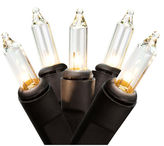Asstd National Brand Set Of 50 Clear Mini Christmas Lights 2.5 Bulb Spacing with Black Wire