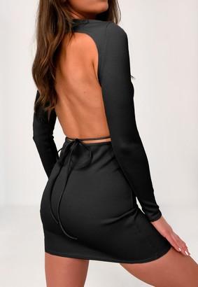 Missguided Black Crew Neck Open Tie Back Mini Dress