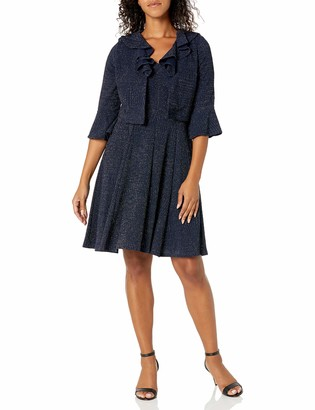Danny And Nicole Danny & Nicole Women's Petite Two Piece Bell Sleeve V-Ruffle Neck Jacket Dress