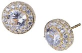 Prime Art & Jewel 10K Yellow Gold Lab Created White Sapphire Stud Earrings