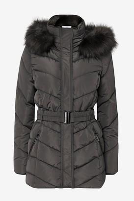 Wallis PETITE Grey Short Belt Detail Padded Coat