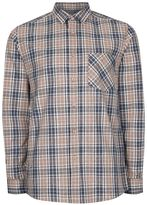 Topman Stone And Navy Check Casual Shirt