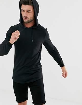Asos Design DESIGN muscle hoodie with curved hem in black