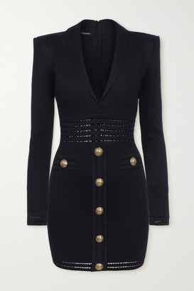Balmain Button-embellished Pointelle-trimmed Stretch-knit Mini Dress - Navy