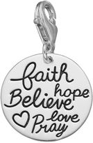 "Personal charm Sterling Silver ""Faith, Hope, Believe, Love, Pray"" Charm"
