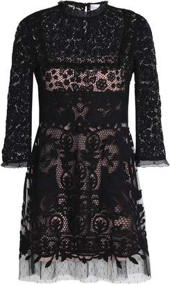 RED Valentino Point D'esprit-trimmed Cotton Guipure Lace Mini Dress