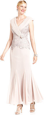 Patra Dress, Cap-Sleeve Lace Gown