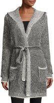 Neiman Marcus Eyelash Two-Tone Hooded Cardigan, Black/Bone