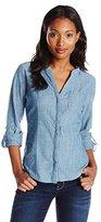 Dockers Women's Chambray Convertible Roll Tab Sleeve Shirt