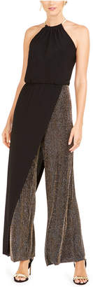 MSK Metallic-Stripe Blouson Walk-Through Jumpsuit