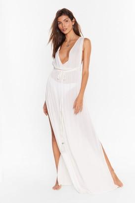 Nasty Gal Womens Plunging V-Neckline Cover-Up Maxi Dress - Cream