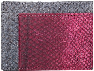 Mayu Rio Fish Leather Card Wallet Slate and Bordeaux