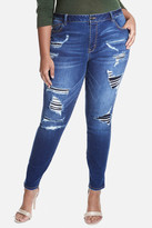 Fashion to Figure Rip and Repair Destructed Skinny Jeans