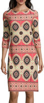 London Times London Style Collection 3/4-Sleeve Printed Sheath Dress