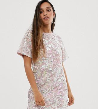 Flounce London Petite velvet iridescent sequin t shirt dress in pink-Multi