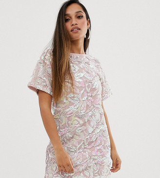 Flounce London Petite velvet iridescent sequin t shirt dress in pink