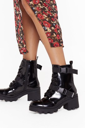 Nasty Gal Womens Box PU Buckle Strap Biker Boots - Black