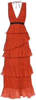 True Decadence Orange Plunge Front Tulle Layered Maxi Dress