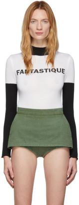 pushBUTTON White and Black Fantastique Bodysuit