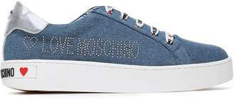 Love Moschino Metallic Leather-trimmed Studded Logo-print Denim Sneakers
