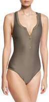 Heidi Klein Huntington Beach Zip-Front One-Piece Swimsuit, Gray
