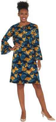 Du Jour Floral Printed Flounce Sleeve Split V-Neck Knit Dress