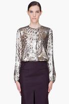 Barbara Bui Taupe Silk Sparkling Print Blouse