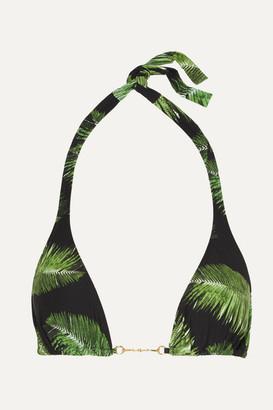 Melissa Odabash Bahamas Embellished Printed Triangle Bikini Top - Black