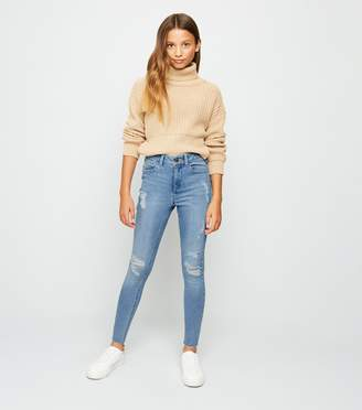 New Look Girls Bleach Wash Ripped Skinny Jeans