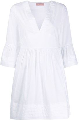 Twin-Set Poplin pleated detail dress
