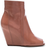 Rick Owens Open Toe Leather Wedges in Brown.