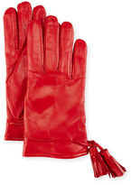 Imoni Leather Tassel Gloves, Red
