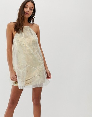 Free People Ghost mini dress with mesh overlay-Beige